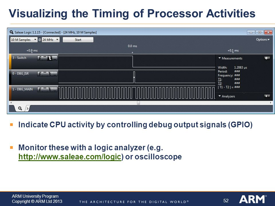52 ARM University Program Copyright © ARM Ltd 2013 Visualizing the Timing of Processor Activities  Indicate CPU activity by controlling debug output signals (GPIO)  Monitor these with a logic analyzer (e.g.