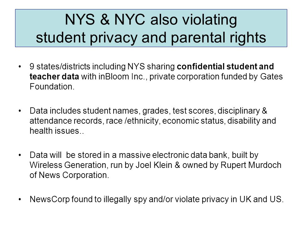 NYS & NYC also violating student privacy and parental rights 9 states/districts including NYS sharing confidential student and teacher data with inBlo
