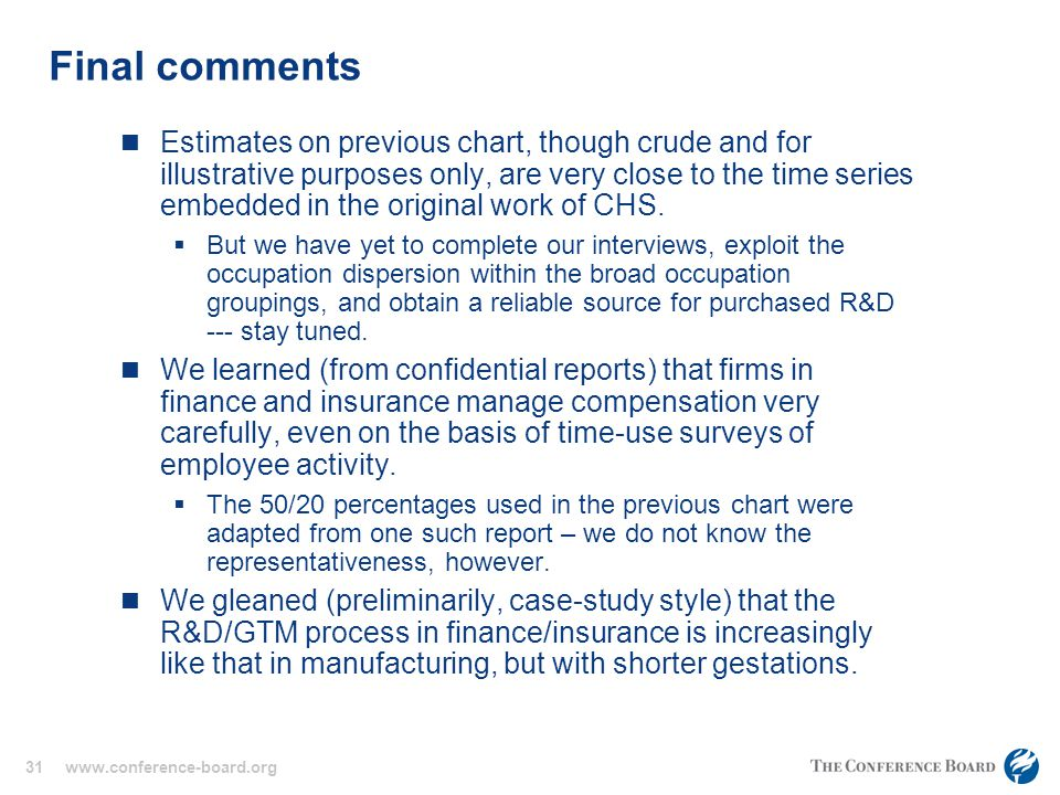 31 www.conference-board.org Final comments Estimates on previous chart, though crude and for illustrative purposes only, are very close to the time series embedded in the original work of CHS.