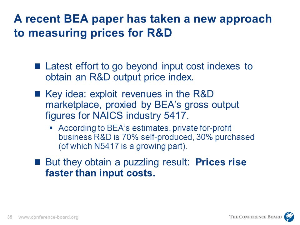 35 www.conference-board.org A recent BEA paper has taken a new approach to measuring prices for R&D Latest effort to go beyond input cost indexes to obtain an R&D output price index.