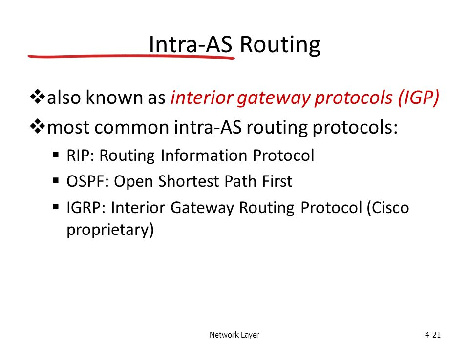 Network Layer4-21 Intra-AS Routing  also known as interior gateway protocols (IGP)  most common intra-AS routing protocols:  RIP: Routing Informati