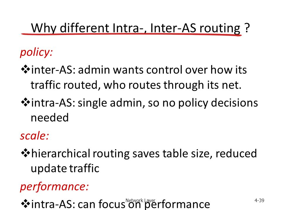 Network Layer4-39 Why different Intra-, Inter-AS routing ? policy:  inter-AS: admin wants control over how its traffic routed, who routes through its