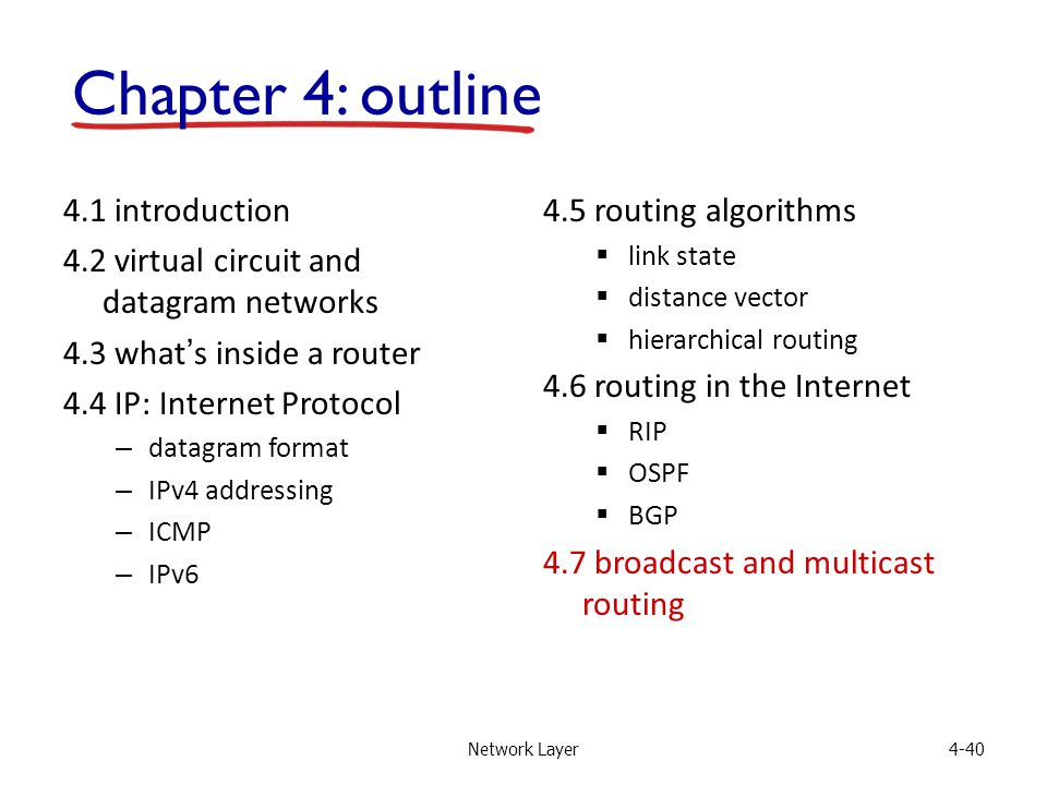 Network Layer4-40 4.1 introduction 4.2 virtual circuit and datagram networks 4.3 what's inside a router 4.4 IP: Internet Protocol – datagram format – IPv4 addressing – ICMP – IPv6 4.5 routing algorithms  link state  distance vector  hierarchical routing 4.6 routing in the Internet  RIP  OSPF  BGP 4.7 broadcast and multicast routing Chapter 4: outline