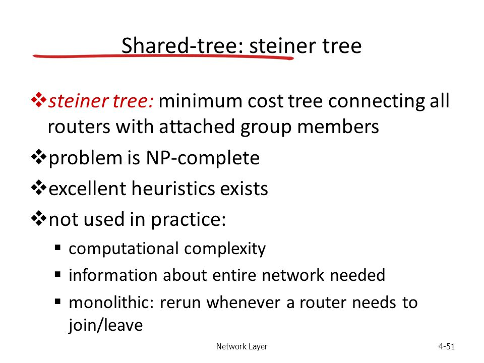 Network Layer4-51 Shared-tree: steiner tree  steiner tree: minimum cost tree connecting all routers with attached group members  problem is NP-complete  excellent heuristics exists  not used in practice:  computational complexity  information about entire network needed  monolithic: rerun whenever a router needs to join/leave