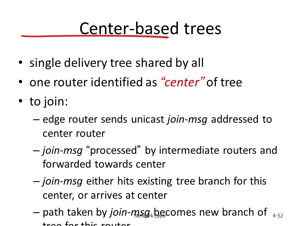 Network Layer4-52 Center-based trees single delivery tree shared by all one router identified as center of tree to join: – edge router sends unicast join-msg addressed to center router – join-msg processed by intermediate routers and forwarded towards center – join-msg either hits existing tree branch for this center, or arrives at center – path taken by join-msg becomes new branch of tree for this router