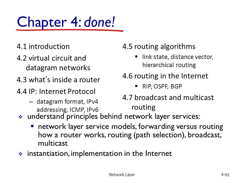 Network Layer4-62 4.1 introduction 4.2 virtual circuit and datagram networks 4.3 what's inside a router 4.4 IP: Internet Protocol – datagram format, IPv4 addressing, ICMP, IPv6 4.5 routing algorithms  link state, distance vector, hierarchical routing 4.6 routing in the Internet  RIP, OSPF, BGP 4.7 broadcast and multicast routing Chapter 4: done.