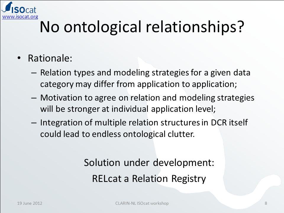 www.isocat.org 19 June 2012CLARIN-NL ISOcat workshop8 No ontological relationships.