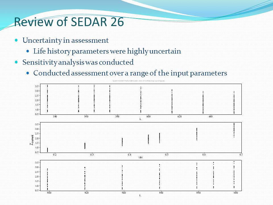 Review of SEDAR 26 Uncertainty in assessment Life history parameters were highly uncertain Sensitivity analysis was conducted Conducted assessment over a range of the input parameters