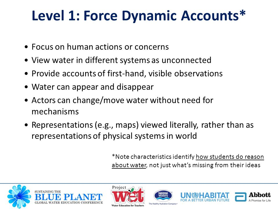 Focus on human actions or concerns View water in different systems as unconnected Provide accounts of first-hand, visible observations Water can appear and disappear Actors can change/move water without need for mechanisms Representations (e.g., maps) viewed literally, rather than as representations of physical systems in world *Note characteristics identify how students do reason about water, not just what's missing from their ideas Level 1: Force Dynamic Accounts*