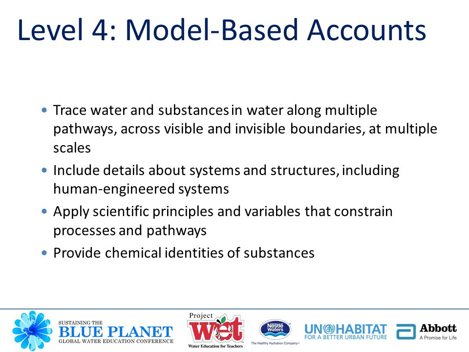 Level 4: Model-Based Accounts Trace water and substances in water along multiple pathways, across visible and invisible boundaries, at multiple scales