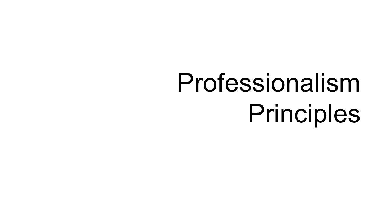 Professionalism Principles