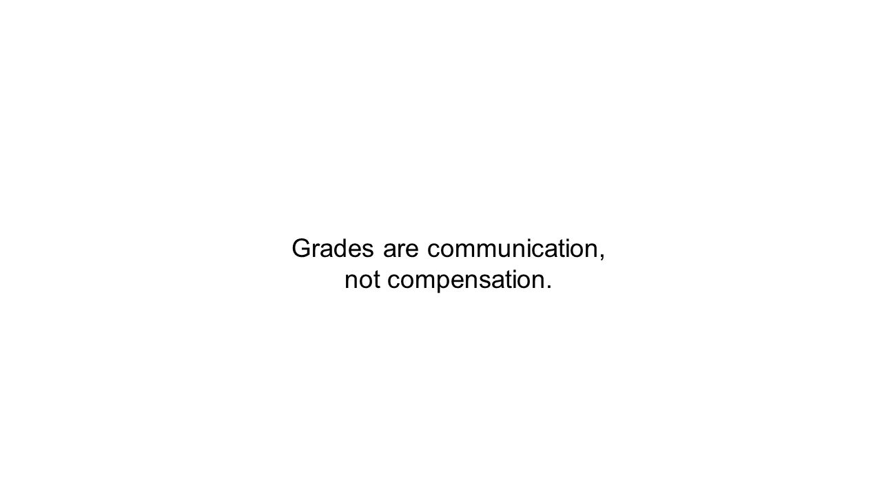 Grades are communication, not compensation.