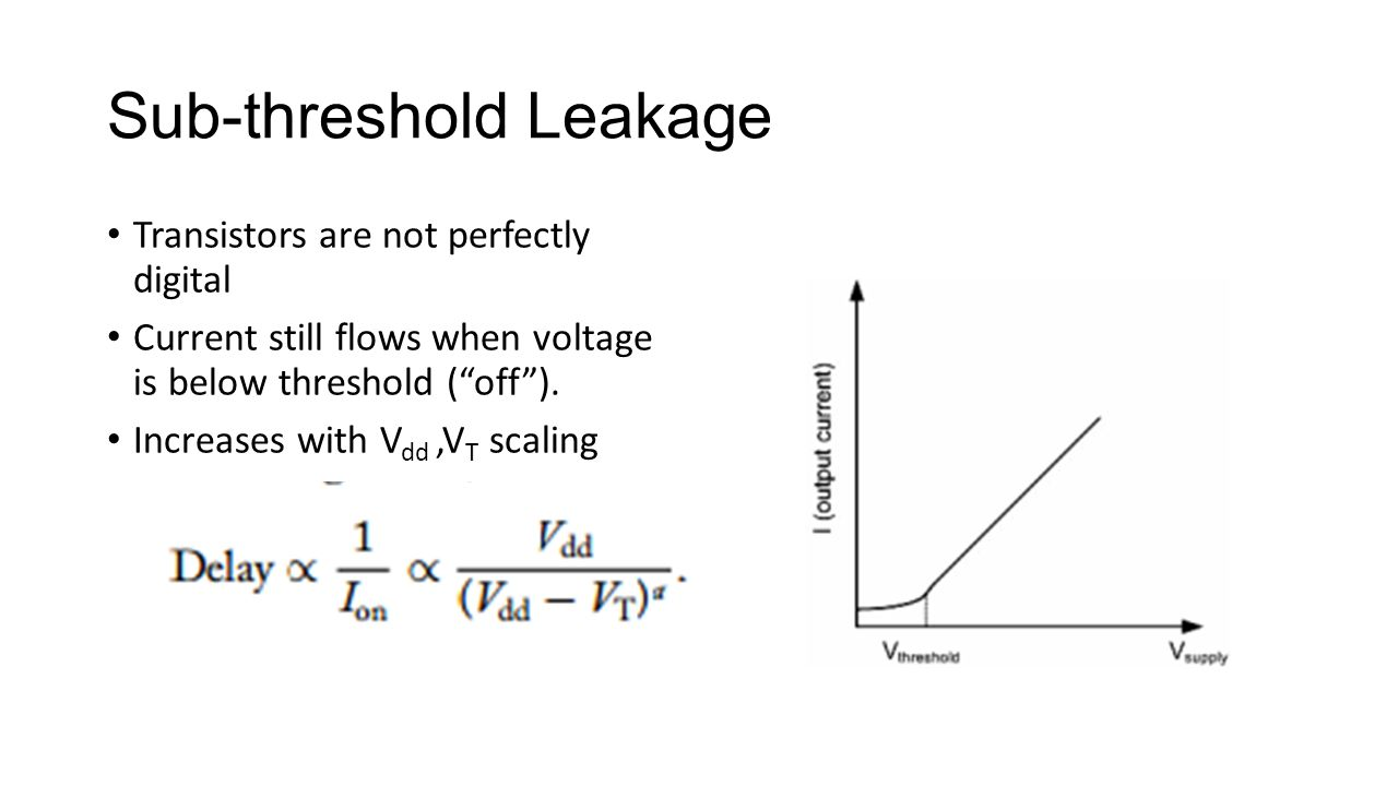 "Sub-threshold Leakage Transistors are not perfectly digital Current still flows when voltage is below threshold (""off""). Increases with V dd,V T scali"