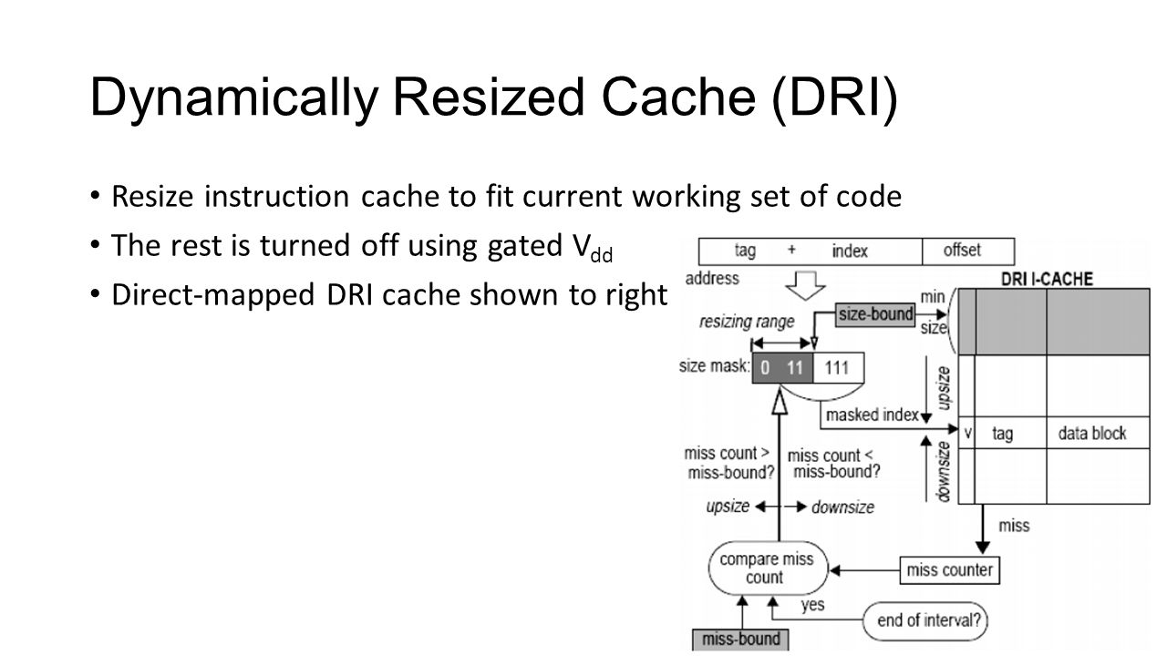 Dynamically Resized Cache (DRI) Resize instruction cache to fit current working set of code The rest is turned off using gated V dd Direct-mapped DRI