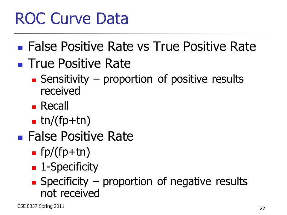 CSE 8337 Spring 2011 22 ROC Curve Data False Positive Rate vs True Positive Rate True Positive Rate Sensitivity – proportion of positive results received Recall tn/(fp+tn) False Positive Rate fp/(fp+tn) 1-Specificity Specificity – proportion of negative results not received
