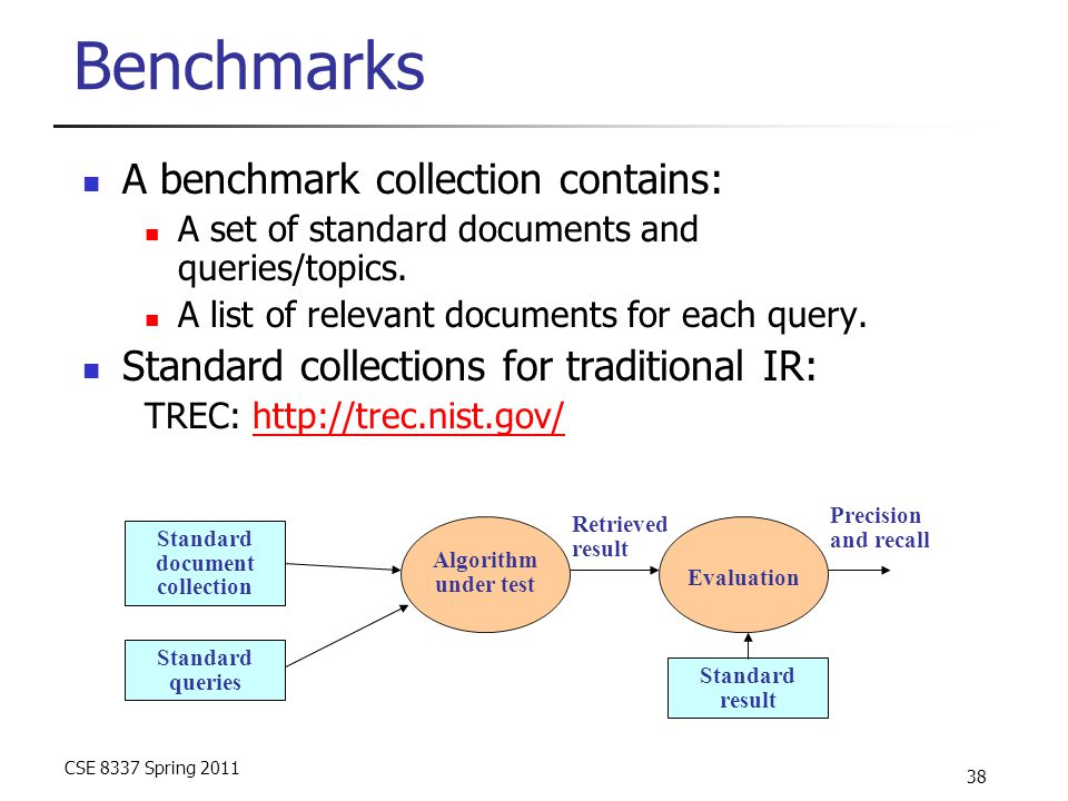 CSE 8337 Spring 2011 38 Benchmarks A benchmark collection contains: A set of standard documents and queries/topics. A list of relevant documents for e