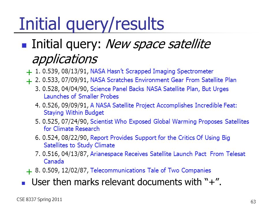CSE 8337 Spring 2011 63 Initial query/results Initial query: New space satellite applications 1. 0.539, 08/13/91, NASA Hasn't Scrapped Imaging Spectro