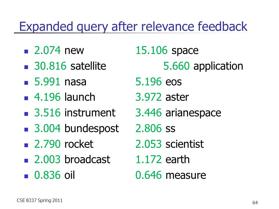CSE 8337 Spring 2011 64 Expanded query after relevance feedback 2.074 new 15.106 space 30.816 satellite 5.660 application 5.991 nasa 5.196 eos 4.196 l