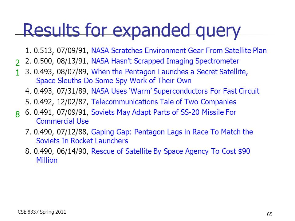 CSE 8337 Spring 2011 65 Results for expanded query 1. 0.513, 07/09/91, NASA Scratches Environment Gear From Satellite Plan 2. 0.500, 08/13/91, NASA Ha