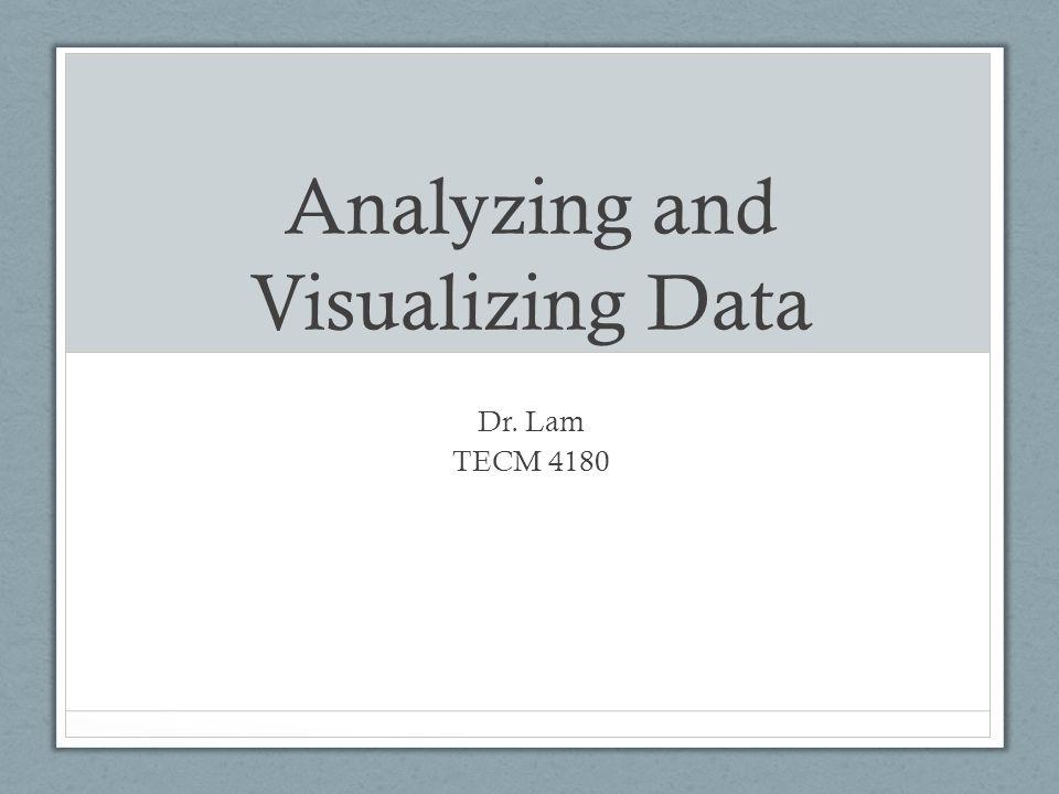 Analyzing and Visualizing Data Dr. Lam TECM 4180
