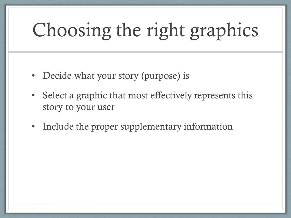 Choosing the right graphics Decide what your story (purpose) is Select a graphic that most effectively represents this story to your user Include the