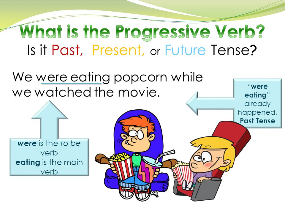"We were eating popcorn while we watched the movie. were is the to be verb eating is the main verb "" were eating "" already happened. Past Tense"