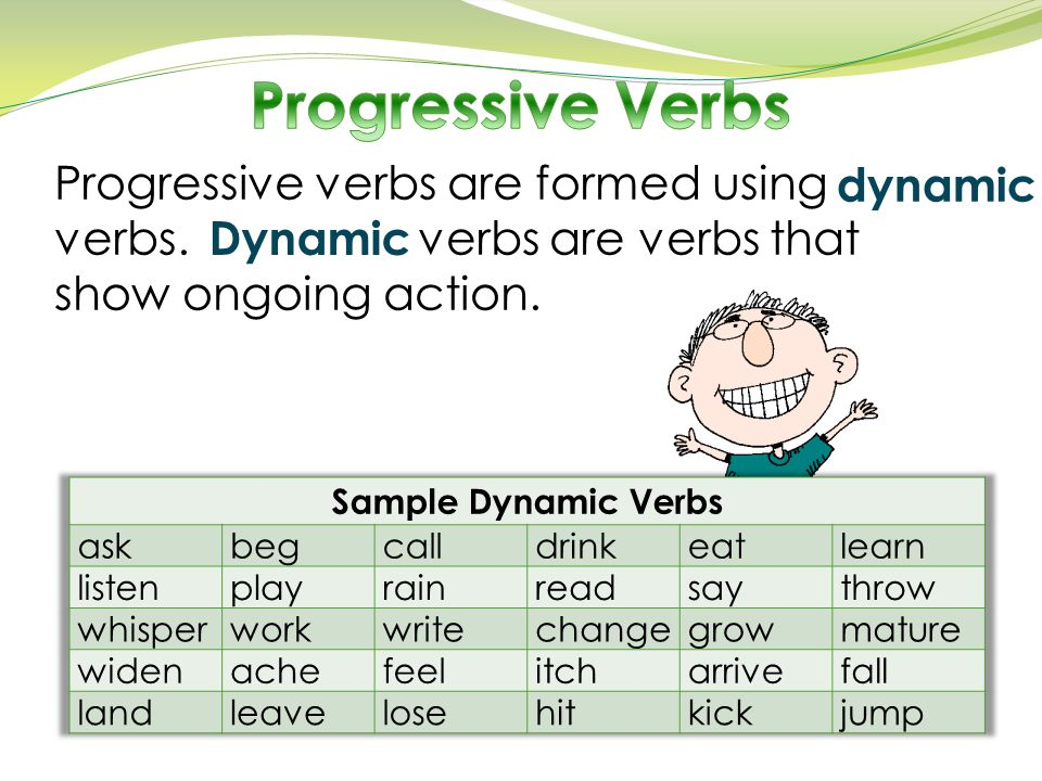 o The present progressive tense of a verb states an action that happens often or is happening now.