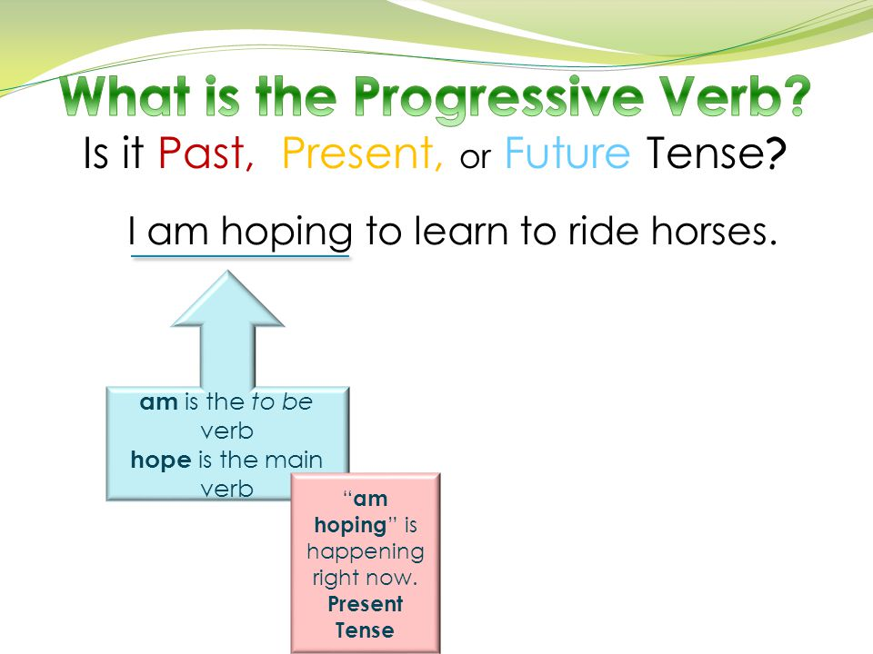 "I am hoping to learn to ride horses. am is the to be verb hope is the main verb "" am hoping "" is happening right now. Present Tense"