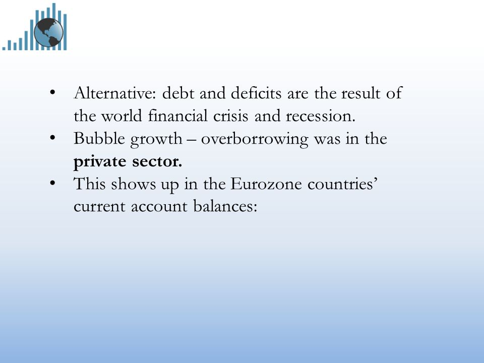 Alternative: debt and deficits are the result of the world financial crisis and recession.