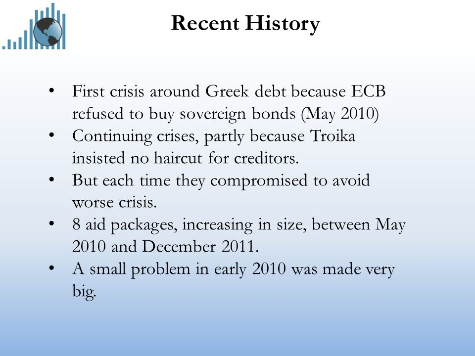 Recent History First crisis around Greek debt because ECB refused to buy sovereign bonds (May 2010) Continuing crises, partly because Troika insisted no haircut for creditors.