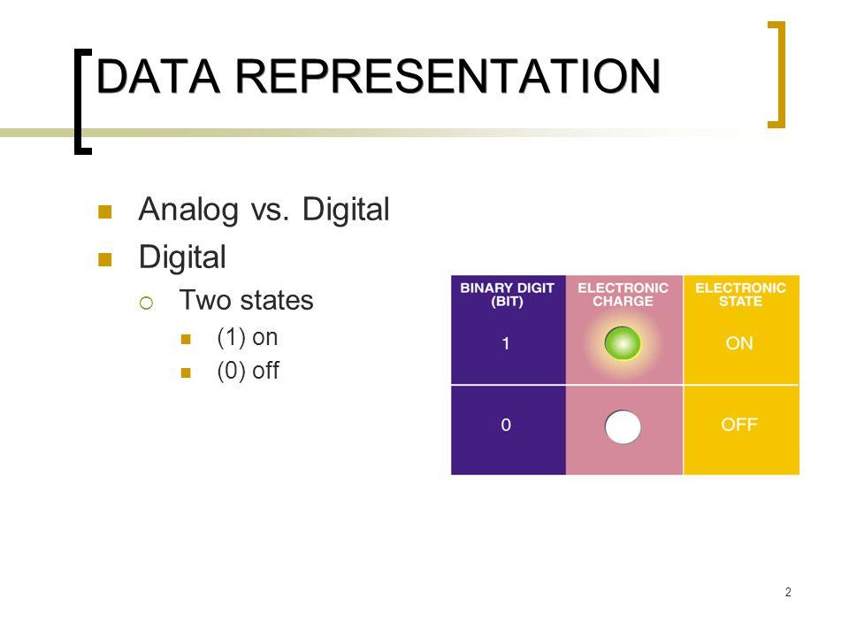 2 DATA REPRESENTATION Analog vs. Digital Digital  Two states (1) on (0) off