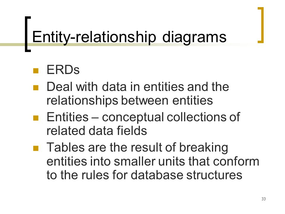 33 Entity-relationship diagrams ERDs Deal with data in entities and the relationships between entities Entities – conceptual collections of related da