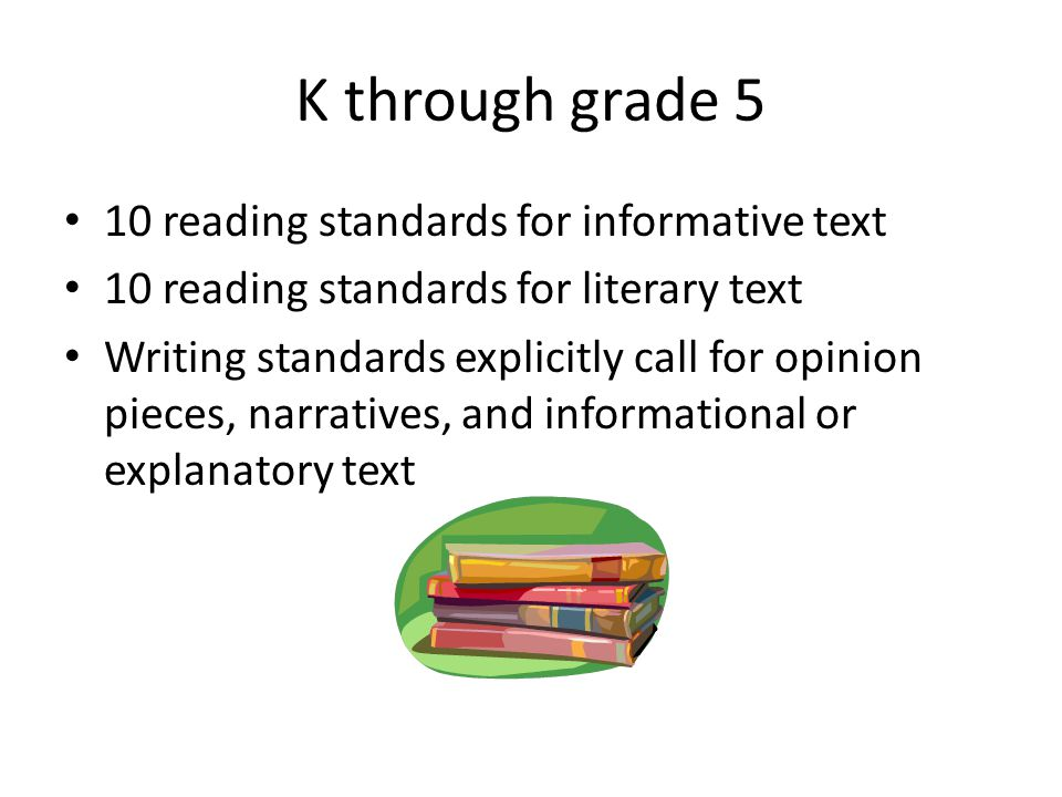 Language Arts Balancing informative and literary texts (K-5) Knowledge in all disciplines Staircase of complexity Text-based answers Writing from sources Academic vocabulary