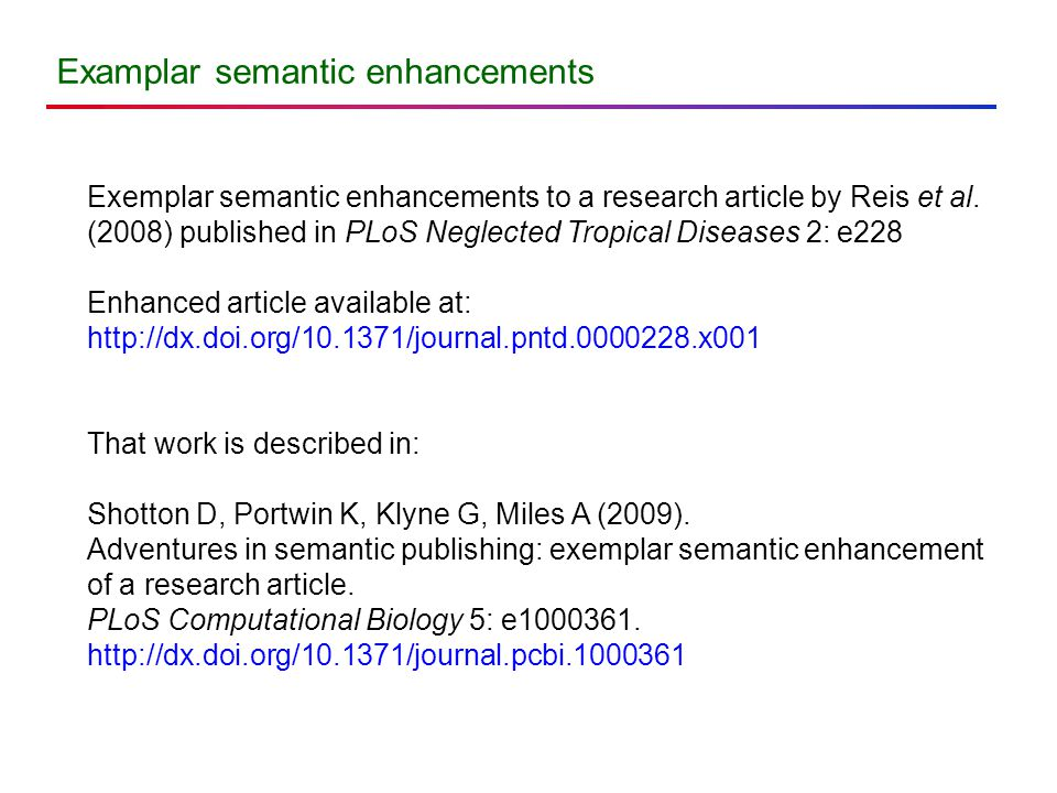 Examplar semantic enhancements Exemplar semantic enhancements to a research article by Reis et al.