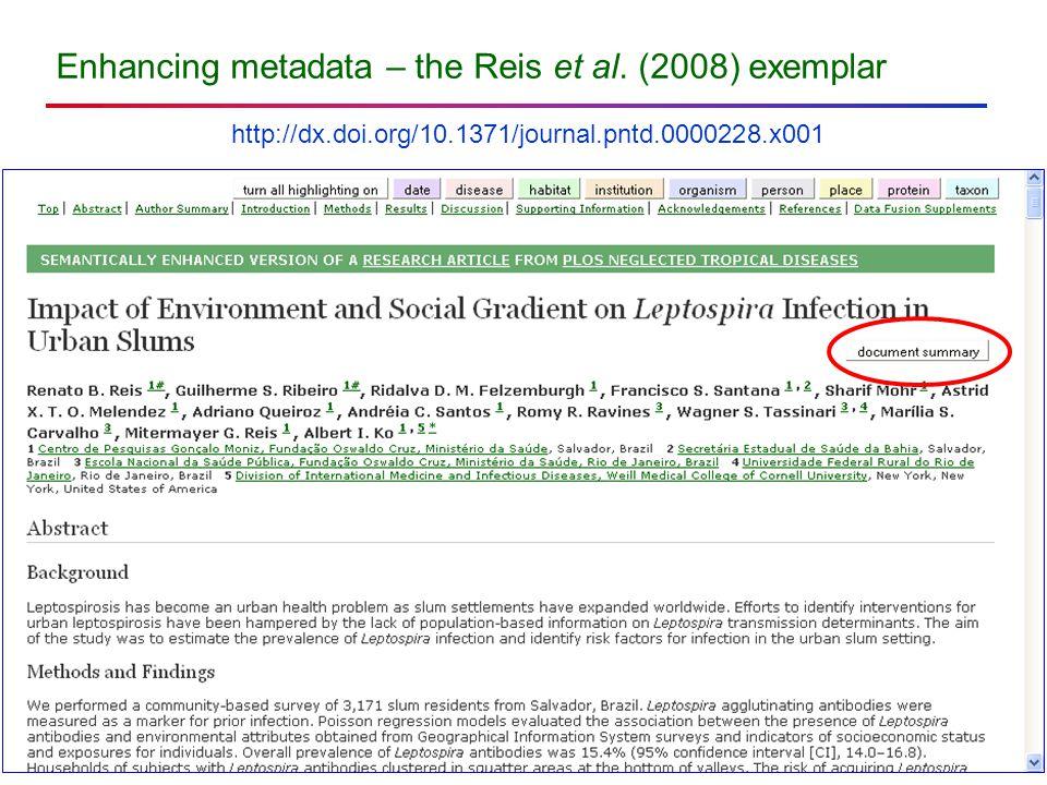 Enhancing metadata – the Reis et al.