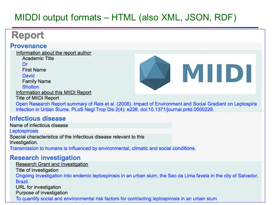 MIDDI output formats – HTML (also XML, JSON, RDF)