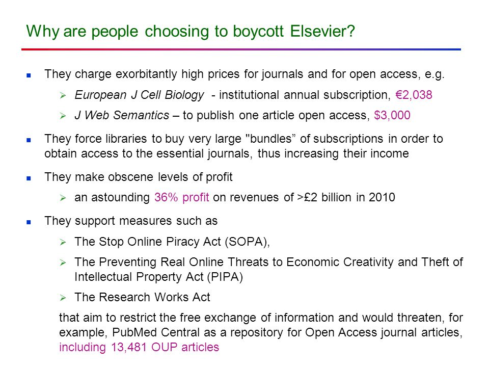 Why are people choosing to boycott Elsevier.
