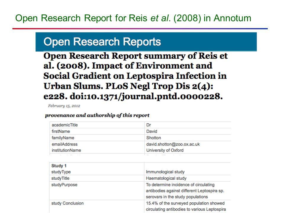 Open Research Report for Reis et al. (2008) in Annotum