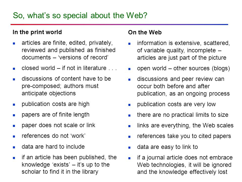 So, what's so special about the Web.