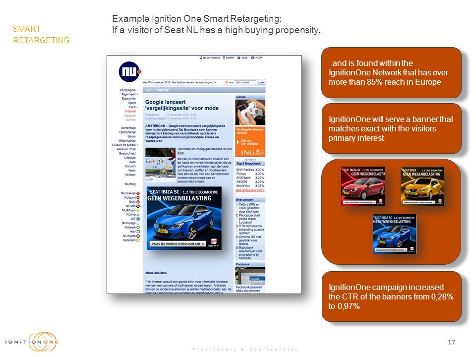 16 Proprietary & Confidential Standard Retargeting IgnitionOne Smart Retargeting Understanding True Interest Car modelIbiza SCIbizaIbiza ST Visit Yes Possible Interest 123 Car modelIbiza SCIbizaIbiza ST Visit.