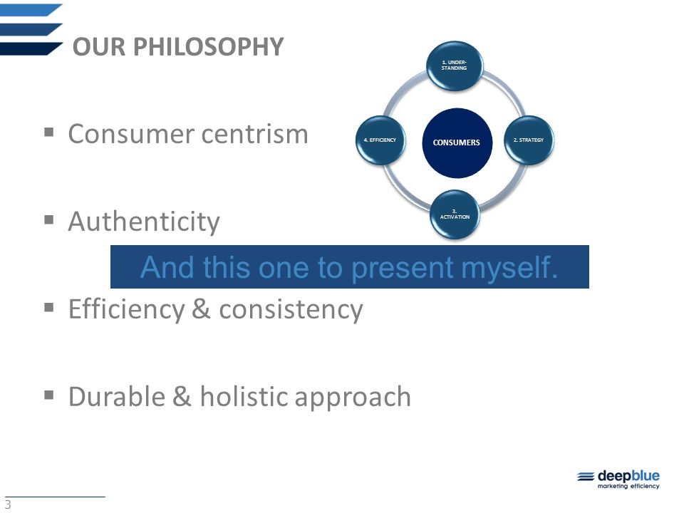 3 OUR PHILOSOPHY  Consumer centrism  Authenticity  Efficiency & consistency  Durable & holistic approachCONSUMERS 1.