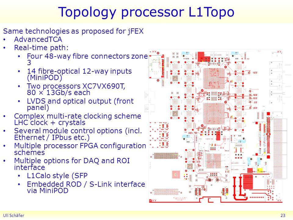 Topology processor L1Topo Uli Schäfer 23 Same technologies as proposed for jFEX AdvancedTCA Real-time path: Four 48-way fibre connectors zone 3 14 fib