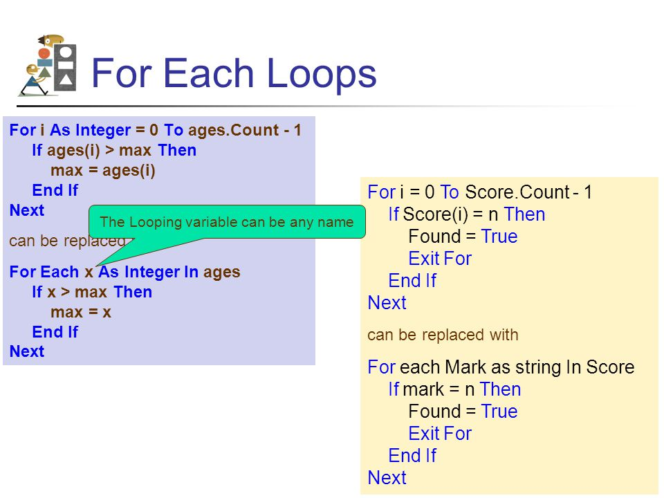 For Each Loops For i As Integer = 0 To ages.Count - 1 If ages(i) > max Then max = ages(i) End If Next can be replaced with For Each x As Integer In ages If x > max Then max = x End If Next For i = 0 To Score.Count - 1 If Score(i) = n Then Found = True Exit For End If Next can be replaced with For each Mark as string In Score If mark = n Then Found = True Exit For End If Next The Looping variable can be any name
