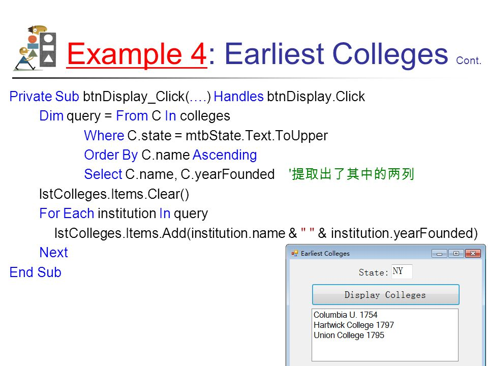 Example 4Example 4: Earliest Colleges Cont.