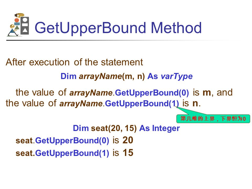 GetUpperBound Method After execution of the statement Dim arrayName(m, n) As varType the value of arrayName.GetUpperBound(0) is m, and the value of arrayName.GetUpperBound(1) is n.