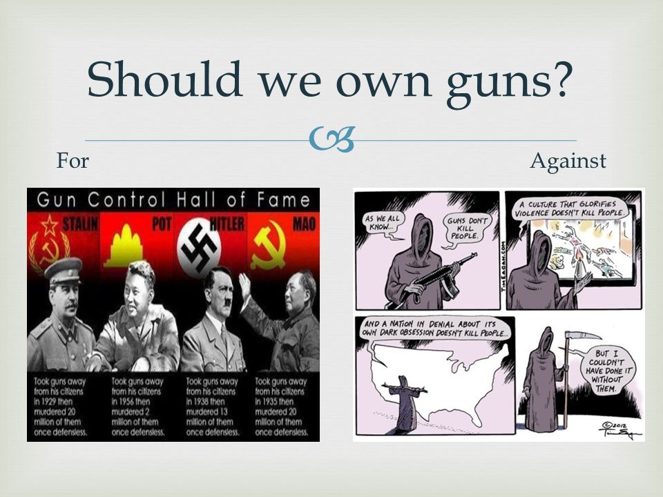  Should we own guns? ForAgainst