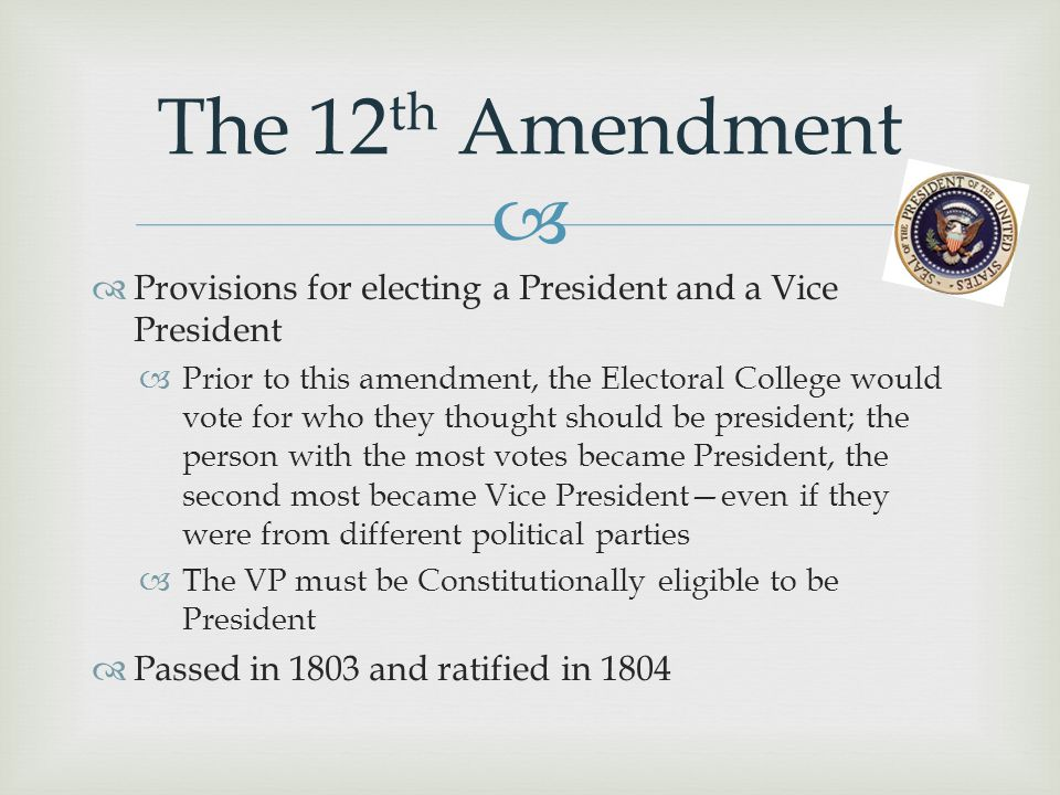   Provisions for electing a President and a Vice President  Prior to this amendment, the Electoral College would vote for who they thought should b