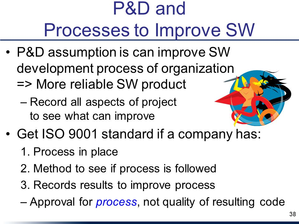 P&D and Processes to Improve SW P&D assumption is can improve SW development process of organization => More reliable SW product –Record all aspects of project to see what can improve Get ISO 9001 standard if a company has: 1.
