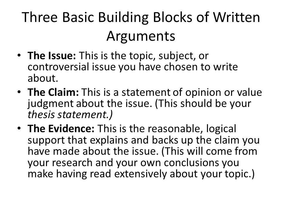 Arguments in writing
