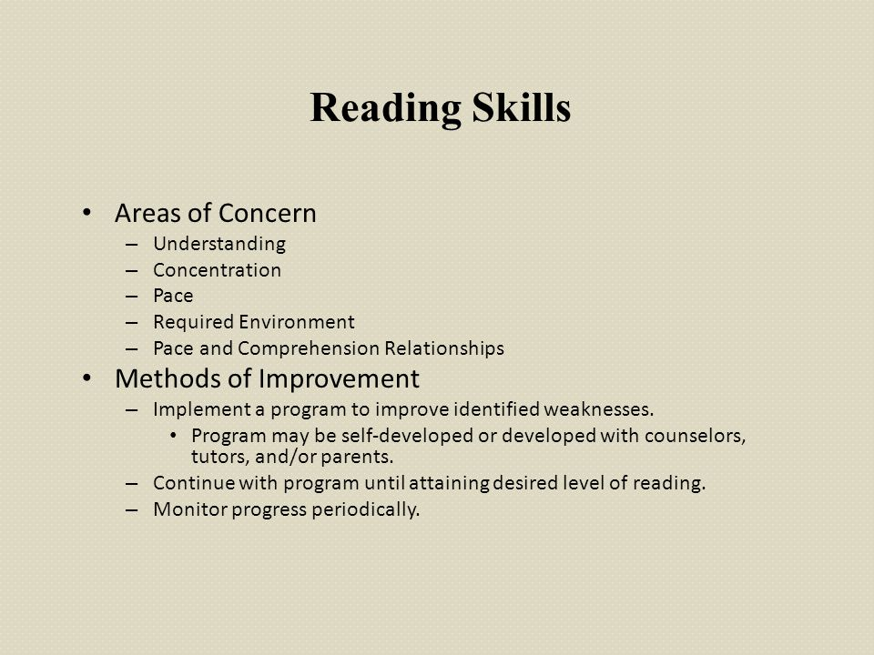 Reading Skills Areas of Concern – Understanding – Concentration – Pace – Required Environment – Pace and Comprehension Relationships Methods of Improv